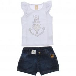 Conjunto Infantil Colorittá Shorts Jeans Âncora Coração 30567