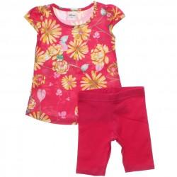 Conjunto Infantil Menina Elian Bermuda e Blusa Floral 30598