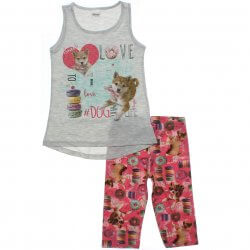 Conjunto Infantil Menina Elian Capri e Blusa Love Dog 31486