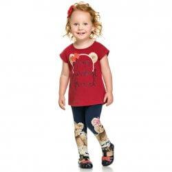 Conjunto Infantil Menina Elian Legging Urso Best Friend 31481