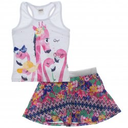 Conjunto Infantil Menina Elian Saia Shorts Estampado Girafa 31484