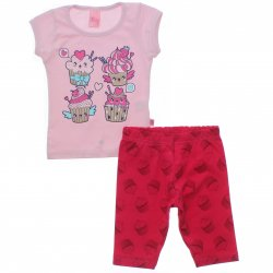 Conjunto Infantil Menina Livy Cupcakes Capri Estampada 31795