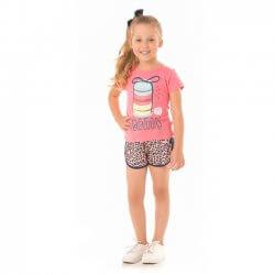 Conjunto Infantil Menina Livy Macaroons Onça 31784