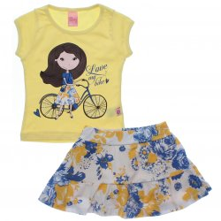 Conjunto Infantil Menina Livy Saia Shorts Floral Love Bike 31797