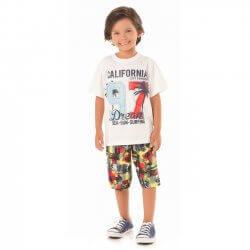 Conjunto Infantil Menino Livy California Bermuda Estampada 31783