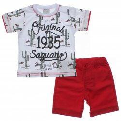 Conjunto Infantil Menino Rovitex Cactos Bermuda Sarja 31515
