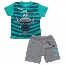 Conjunto Infantil Menino Rovitex Listras Hipopotamo 31623