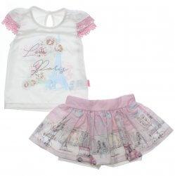 Conjunto Infantil Paraíso Menina Blusa Love Paris Saia Floral 31698