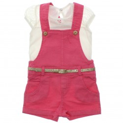 Conjunto Infantil Paraíso Menina Jardineira Blusa Renda 30301