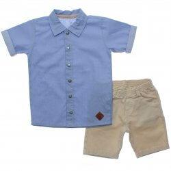 Conjunto Infantil Paraíso Menino Camisa Poa e Bermuda Sarja 31700