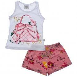Conjunto Infantil Rovitex Menina Regata Bolsa e Shorts Estampado 31510