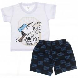 Conjunto Infantil Snoopy Menino Bermuda Estampada 30087