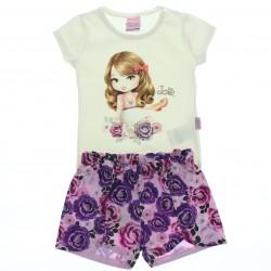 Conjunto Jolie Infantil Menina Shorts Floral Blusa Estampa