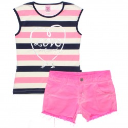 Conjunto Magic Girls Juvenil Listrado Love Foil 30137