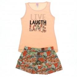Conjunto Magic Girls Saia-Shorts Estampa Live love 28933