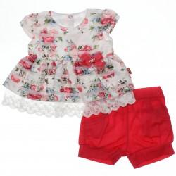 Conjunto Paraíso Bebê Menina Floral Renda Laço 30303