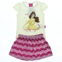 Conjunto Princesas Disney Infantil Menina Saia Listras 28578