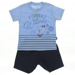 Conjunto Pulla Bulla Bebê Menino Estampa Fishery 29200