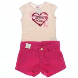 Conjunto Shorts Alakazoo Menina Bordado Coração 28813