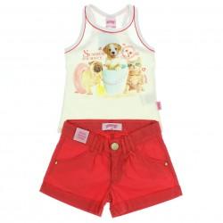 Conjunto Shorts Alakazoo Menina Estampa Cachorros 28820