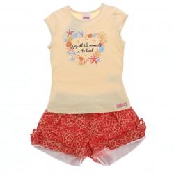 Conjunto Shorts Alakazoo Menina Estampa Enjoy Conchas 28811