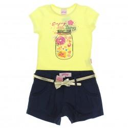 Conjunto Shorts Alakazoo Menina Estampa Pote Flores 28816
