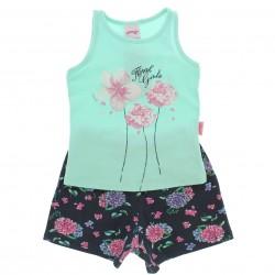Conjunto Shorts Alakazoo Menina Flores Shorts Estampa 28805