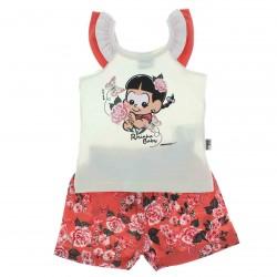 Conjunto Turma do Chico Bento Beb� Menina Shorts Floral - 25
