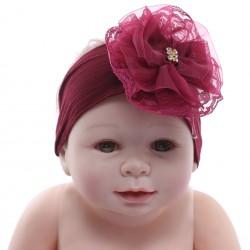 Faixa Paraíso Bebê Meia Calça Fuxico Flor Strass 31192