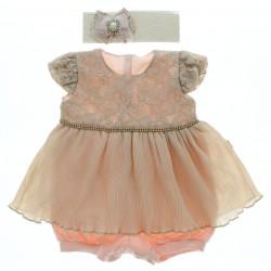 Macacão Curto Paraiso Bebê Plissado Com Strass 28749
