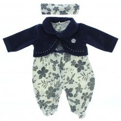 Macac�o Longo Baby Fashion Menina Suedine Bolero Flor 28539