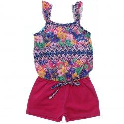Macaquinho Infantil Elian Shorts Liso e Superior Floral 31576