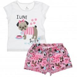 Pijama de Verão Brandili Infantil Menina Pug I love Sleep 29