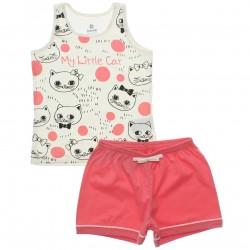 Pijama de Verão Brandili Infantil Menina Regata Gatinhos 30666