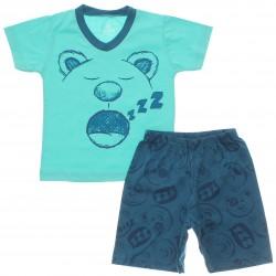 Pijama de Verão Brandili Infantil Menino Urso ZZZ 22793