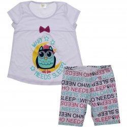 Pijama Infantil Have Fun Menina Coruja Bermuda Letras 31750