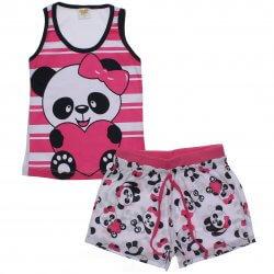 Pijama Infantil Have Fun Menina Listrado com Panda 31749