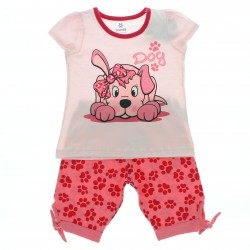 Pijama Infantil Menina Bermuda Patinhas Dog Laço Perna