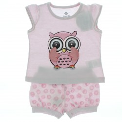 Pijama Infantil Menina Shorts Coruja Interativa Asas