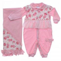 Saida Maternidade Paraíso Menina Macacão Pala Flor e Tule 31677