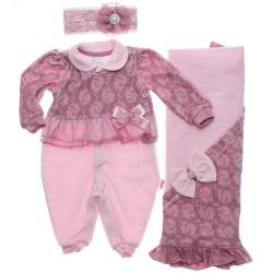 Saida Maternidade Paraíso Menina Macacão Plush Flores 31205