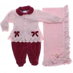Saida Maternidade Paraíso Menina Macacão Plush Tricot 31203