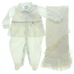 Saida Maternidade Para�so Menina Macac�o Renda La�o 28703