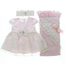 Saida Maternidade Paraíso Menina Vestido Barra Renda Laço 28