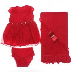Saida Maternidade Paraíso Menina Vestido Renda Organza 30366