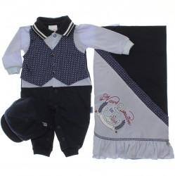 Saida Maternidade Para�so Menino Colete Gravataria 30372