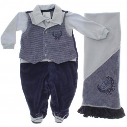 Saida Maternidade Para�so Menino Macac�o Plush Colete 29572