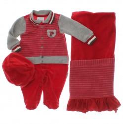 Saida Maternidade Para�so Menino Macac�o Plush Listras 29573