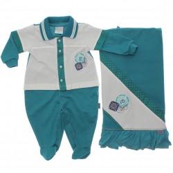 Saida Maternidade Paraíso Menino Piquet Estrela Bordada 30368