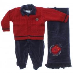 Saida Maternidade Paraíso Menino Plush Tricot Brasão 31209